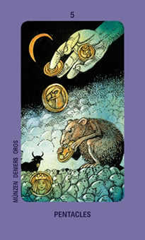 Five of Coins Tarot Card - Jolanda Tarot Deck