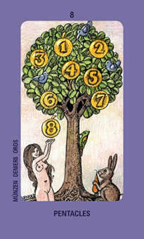 Eight of Coins Tarot Card - Jolanda Tarot Deck