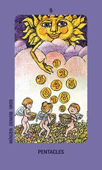 Nine of Stones Tarot Card - Jolanda Tarot Deck