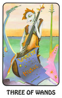 Three of Pipes Tarot Card - Karma Tarot Deck