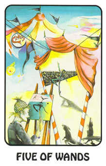 Five of Rods Tarot Card - Karma Tarot Deck