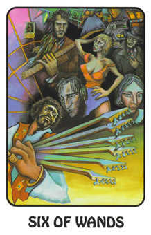 Six of Staves Tarot Card - Karma Tarot Deck