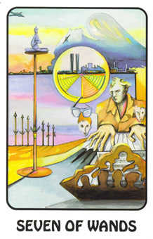 Seven of Rods Tarot Card - Karma Tarot Deck