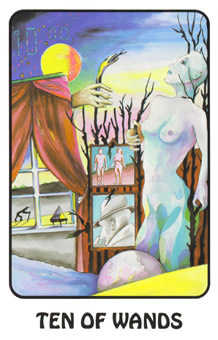 Ten of Staves Tarot Card - Karma Tarot Deck
