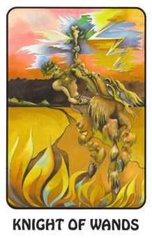 Knight of Wands Tarot Card - Karma Tarot Deck