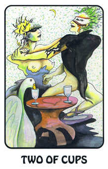 Two of Cups Tarot Card - Karma Tarot Deck