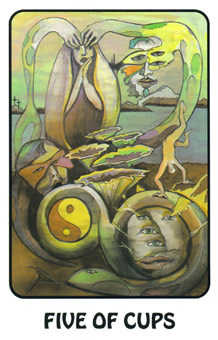 Five of Bowls Tarot Card - Karma Tarot Deck