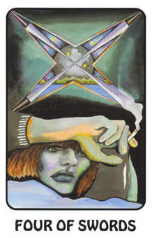 Four of Spades Tarot Card - Karma Tarot Deck