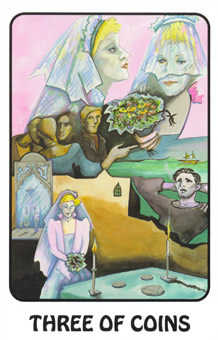 Three of Stones Tarot Card - Karma Tarot Deck