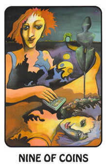 Nine of Coins Tarot Card - Karma Tarot Deck