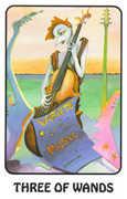 Three of Wands Tarot card in Karma deck