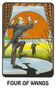 Four of Wands Tarot card in Karma deck