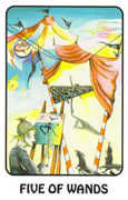 Five of Wands Tarot card in Karma deck