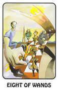 Eight of Wands Tarot card in Karma deck