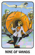 Nine of Wands Tarot card in Karma deck