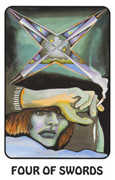 Four of Swords Tarot card in Karma deck