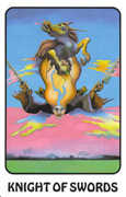 Knight of Swords Tarot card in Karma Tarot deck