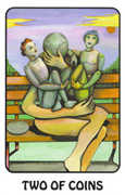 Two of Coins Tarot card in Karma deck