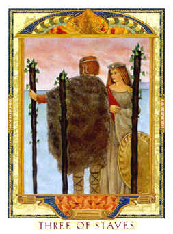 Three of Rods Tarot Card - Lovers Path Tarot Deck