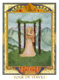 Four of Staves Tarot Card - Lovers Path Tarot Deck