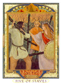 Five of Staves Tarot Card - Lovers Path Tarot Deck