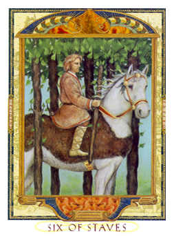 Six of Rods Tarot Card - Lovers Path Tarot Deck