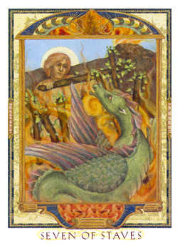 Seven of Staves Tarot Card - Lovers Path Tarot Deck
