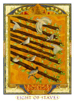 Eight of Staves Tarot Card - Lovers Path Tarot Deck