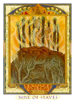 Nine of Staves Tarot Card - Lovers Path Tarot Deck