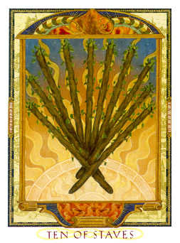 Ten of Staves Tarot Card - Lovers Path Tarot Deck