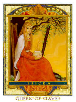 Queen of Staves Tarot Card - Lovers Path Tarot Deck