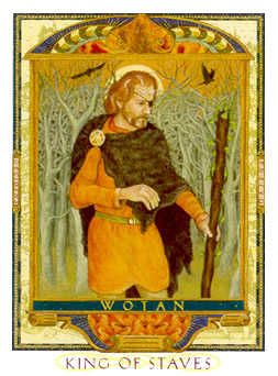 King of Staves Tarot Card - Lovers Path Tarot Deck