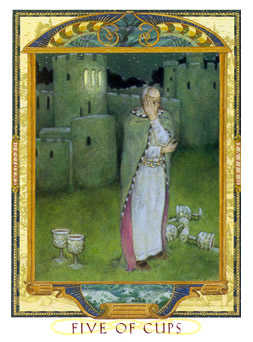 Five of Bowls Tarot Card - Lovers Path Tarot Deck