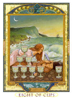 Eight of Bowls Tarot Card - Lovers Path Tarot Deck
