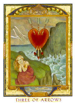 Three of Swords Tarot Card - Lovers Path Tarot Deck