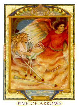 Five of Wind Tarot Card - Lovers Path Tarot Deck