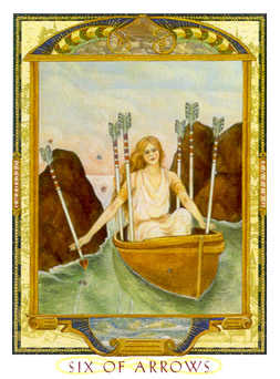 Six of Arrows Tarot Card - Lovers Path Tarot Deck