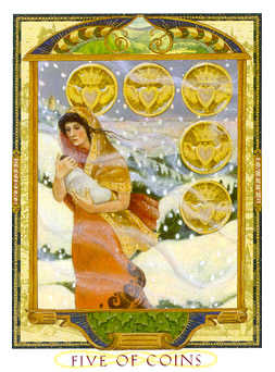 Five of Coins Tarot Card - Lovers Path Tarot Deck