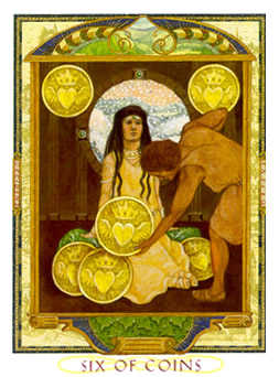 Six of Coins Tarot Card - Lovers Path Tarot Deck