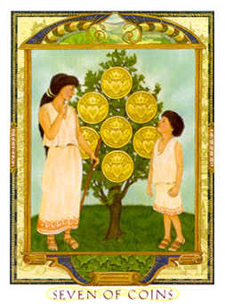 Seven of Coins Tarot Card - Lovers Path Tarot Deck