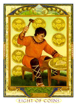 Eight of Coins Tarot Card - Lovers Path Tarot Deck