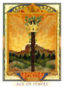 Ace of Wands Tarot card in Lovers Path deck
