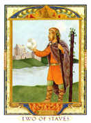 Two of Wands Tarot card in Lovers Path Tarot deck
