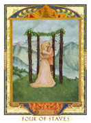 Four of Wands Tarot card in Lovers Path deck