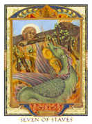 Seven of Wands Tarot card in Lovers Path Tarot deck
