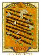 Eight of Wands Tarot card in Lovers Path Tarot deck