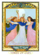Three of Cups Tarot card in Lovers Path deck