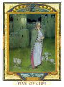 Five of Cups Tarot card in Lovers Path Tarot deck