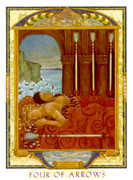 Four of Swords Tarot card in Lovers Path Tarot deck