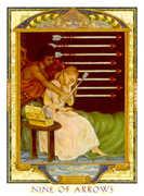 Nine of Swords Tarot card in Lovers Path Tarot deck